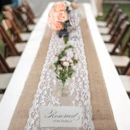 Exquisite 30*275cm Christmas Lace Jute Table Runners Linen Hessian Burlap  Blanket Home Decor Wedding Party Decoration Kitchen Accessories