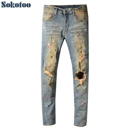 $enCountryForm.capitalKeyWord Australia - Sokotoo Men's painted holes ripped torn denim jeans Vintage blue distressed stretch denim pants High quality