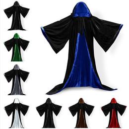 Nylon Coating Australia - Long Sleeves Velvet Hooded Cloak Wedding Cape Wedding Hooded Cloak Coat Fancy Cloak Velvet Hooded Unisex Women Men Party Hallowmas Cosplay C
