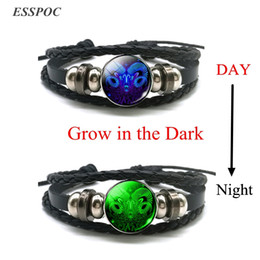 Libra jeweLry online shopping - Aries Gemini Leo Libra Scorpio Constellation Luminous Bracelet Leather Bracelet Zodiac Sign Jewelry for Men Women
