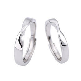 $enCountryForm.capitalKeyWord Canada - Silver Mobius Strip Ring Adjustable Band Ring Couple Rings for Women Men Fashion Jewelry Drop Ship 080373