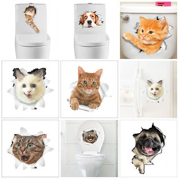 Cats wall stiCkers online shopping - 3D Look Hole Wall Sticker Lovely Vivid Cat Dog Notebook Toilet Stickers For Bathroom Room Decoration Pasters Popular cz B
