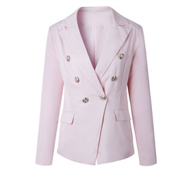 blazers suits elegant women UK - Top Quality Women Top Quality OL Work Elegant Deep V Neck Blazers Buttons Slim Jackets Coat Suit