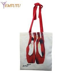 bb20abbfab2 Bolsas de baile de ballet para adultos zapatos de pointe de ballet bolsas  de hombro de impresión para las mujeres negro azul rojo niñas bailan bolsa  de lona