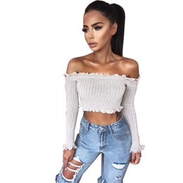 ce32b0178f46b6 2018 New Tank Tops Sexy Off Shoulder Ruffles Ruched Knit Crop Top Women  Short Tees Casual Streetwear 90s Basic Camis