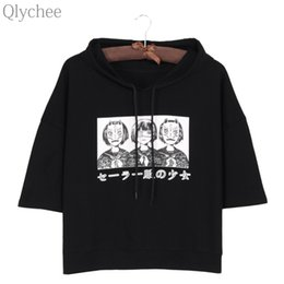 Chinese  Wholesale-Qlychee Harajuku Style Women Hoodie T-shirt Japan Anime Mask Girl Japanese Print T shirt Half Sleeve Casual Loose Top Tee manufacturers