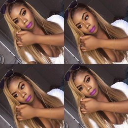 Discount blonde wig lace front silky straight - Glueless Full Lace Wig With Baby Hair Pre Plucked Remy Ombre Blonde Human Hair Wigs Bleached Knots Brazilian Hair Wig