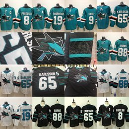 65 Erik Karlsson San Jose Sharks 88 Brent Burns 8 Joe Pavelski 19 Joe  Thornton 42 Joel Ward Hertl 9 Evander Kane 2018 third black Jersey 0062b261f