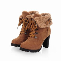 womens chunky heel shoes UK - Factory Low Price Autumn Style VIV Magazine Lamb Wool High Heel Ankle Boot Winter Womens Boots For Women Boot Shoes