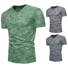 V Neck Style T Shirts Canada - Short-Sleeve t shirts 2018 New Style t shirt Man Cotton Fashion Design V-neck Slim Shirt Tops Tees Wholesale