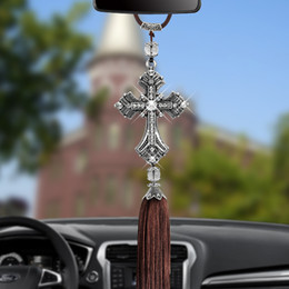 Car deCorations diamonds online shopping - Metal And Crystal Diamond Cross Jesus Christian Car Rear View Mirror Car Pendant Hanging Car Styling Accessories Auto Decoration