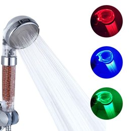 Spa head online shopping - Led shower Saving Water Tourmaline SPA Anion Hand Shower Pressurize Hand Held Bathroom Led Shower Head Filter Temperature Sensor Colors