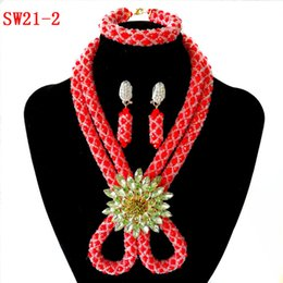 African Jewelry Sets China NZ - Women Nigerian Wedding Beads Bridal Jewelry Set Red 2 Row Handmade Crystal Beaded Necklace African Beads Costume Jewelry Set