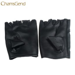 Leather Mitten Gloves Australia - Good Sale Theatrical Glove Punk Hip-hop PU Black mitten Half-finger Leather Gloves Square Nail Dec 7