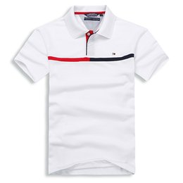 Red Stripe Polo Shirt Australia - High quality Luxury men Polo Shirts brand Red and white stripes Embroidery LOGO turndown collar shirts solid cotton short sleeve men t shirt