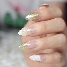 $enCountryForm.capitalKeyWord NZ - Pointed Stiletto White Jade French False Nail Art Tips Gold Glitter Clear Oval Almond Fake Nails Press Daily Wear Finger Tips