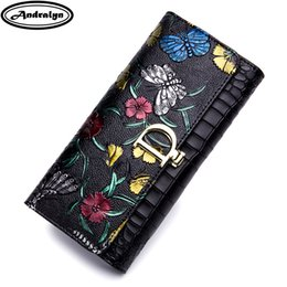 Wallet Painting Australia - Andralyn Super Quality Leather Lady's Wallet Hand Painted Flower Zipper Long Wallets for Women Phone Clutch Wallets Card Purse