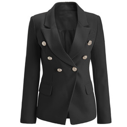 Chinese  BNWT Top Quality Original Design Women's Branded Ladies Double-Breasted Slim Jacket Metal Buckles Blazer Outwear Coat White Black Pink manufacturers