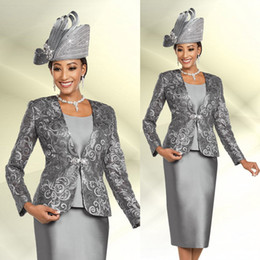 $enCountryForm.capitalKeyWord NZ - Silver Mother Of The Bride Dresses Three Pieces Jacket Long Sleeve Mother Of The Bride Lace Sequins Plus Size Prom Dress Party Wear
