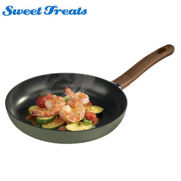 Steel Induction Canada - Sweettreats Induction Bottom Aluminum Nonstick Grey Fry Pan With Ceremic Coating And Wooden Handle 12 Inches Dishwasher Safe