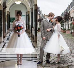 $enCountryForm.capitalKeyWord Canada - Modest short Lace Tulle skirt country Wedding Dresses 2019 Vintage 3 4 Long Sleeves Tea-Length Zipper Back Short Wedding Bridal Dresses