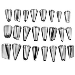 $enCountryForm.capitalKeyWord Australia - 24Pcs set Large Stainless Steel Icing Piping Nozzles Pastry Tips Set Sugar Craft Tool For Cake Decorating