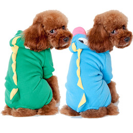 Free Style Clothes NZ - Dinosaur Style Cartoon Hoodie Dog Puppy Clothes Winter Pet Clothing Dinosaurs Cute Costume For Teddy Clothings Free Ship