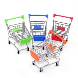 Toy Holders NZ - Mini Supermarket Handcart Shopping Utility Cart Mode Storage Toy stainless steel Pen Holders Desk Accessories Cylindrical case