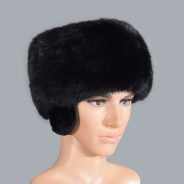 China 2018 new men's rabbit fur hat winter with ear warm thickening fashion adult cheap rabbit fur hat ears suppliers