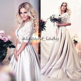Discount zipper back satin wedding dresses - 2018 Modest Champagne Lace Satin A Line Wedding Dresses Arabic Half Sleeves Sheer Jewel Neck Long Bridal Gowns with Butt