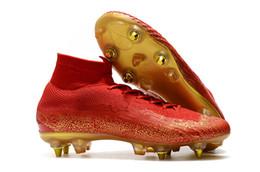 803cbb65 Высокое качество Mercurial Superfly VI Elite CR7 SG AC стальные шипы  китайский красный высокий футбол обувь размер 39-45 мужчины футбольные бутсы