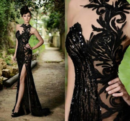 Wholesale Prom Dresses Elegant Sexy Black Sheer Jewel Neck Mermaid High Slit Evening Gowns Plus Size Custom Made Cheap Vestidos De Festa BO7602