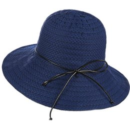 b0714dec065 Simple Solid Sun Hat Foldable Women Girls Fashion Summer Hat with PU String  Bow One Size Fits