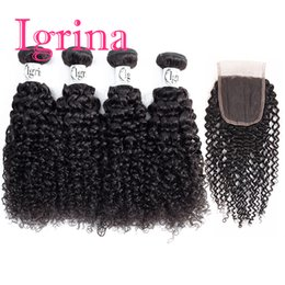 $enCountryForm.capitalKeyWord UK - Igrina Brazilian Curly Virgin Hair 4 Bundles With 4x4 Top Lace Closure Unprocessed Good Cheap Weave Remy Wet And Wavy Human Hair Extensions