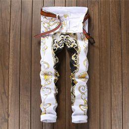 Venta al por mayor de Los nuevos hombres de la llegada de alta calidad casuales imprimieron los pantalones de los vaqueros para hombre Graffiti imprimen los pantalones de hip-hop Jean Slim Fit blancos de la manera