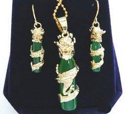 jade dragon gold pendant necklace Canada - Emerald Green Jade Yellow Gold Plated Dragon Pendant Earrings & Necklace Set