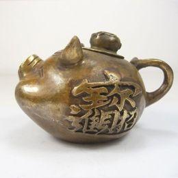 Old Teapots UK - old handwork collectable copper pig shaped superb teapots carved pig