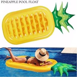 water floating beds 2018 - 190*90cm Inflatable Pineapple Floats Tubes Pool Swimming Toy Ride-On Pool Pineapple Floating Bed Swim Ring for Water Spo