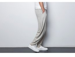 3fcb34fb8 Chinese harem pants online shopping - Chinese Style Linen Men s Casual Pants  Black Gray Summer