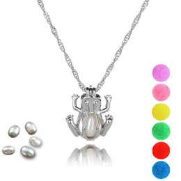 Discount cage pendants for pearls - Pearl Cage Frog Locket Pendant Findings Cage Essential Oil Diffuser Locket For Oyster Pearl Fiber Ball Gifts