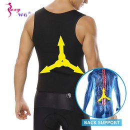 $enCountryForm.capitalKeyWord NZ - SEXYWG Men Sport Shirt Gym Fitness Bodybuilding Weight Loss Yoga Running Shirt Waist Trainer Hot Body Shaper Waist Support Vest
