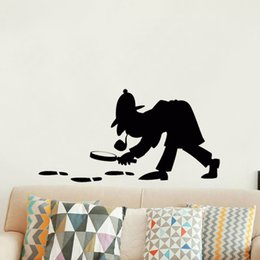Playroom Art Australia - Wall Decal Detective Holmes Wall Sticker For Kids Room Playroom Famous Portrait Poster Art Decor