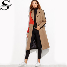 01096f7b7760 Women's Winter Camel Coats Canada - Sheinside Patchwork Double Breasted  Coats Women Camel Long Sleeve Color