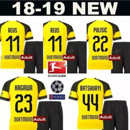 4872b5bbfa4 2018 2019 Bundesliga Soccer BVB 10 Mario Gotze Jersey Sets Men FC Borussia  Dortmund 11 Marco Reus 22 Christian Pulisic Football Shirt Kits