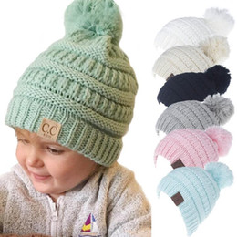 Kids boys winter ear muffs online shopping - Winter Knitted Wool Baby Hat Unisex Girl Boy Kids Folds Casual CC labeling Beanies Solid Color Hip Hop Skullies Cap