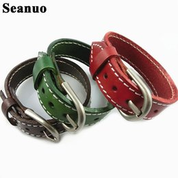 Wholesale Seanuo CM Unisex Men Leather Belt Bracelets Bangles Adjustable Women Real Leather Wrist cuff Buckle Bracelet Punk Jewelry