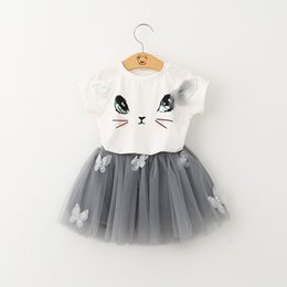 Chinese  children cat T-shirt + skirt set baby two-piece girl wear skirt 2 colors size 90-130 free shipping manufacturers