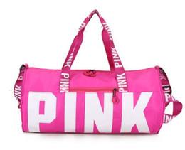 Large canvas duffeL bags online shopping - 2018 new women handbag Travel bag shoulder bag PINK sports fitness aslant bag Letter Large Capacity Waterproof Beach Bags