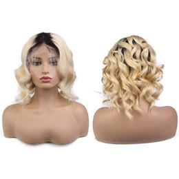 1b bob wigs online shopping - Short Wavy BOB Brazilian remy Human Hair Lace Front Wig Ombre blonde B Bob Cut Density Pre Plucked Baby Hair