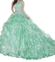 Coral gold quinCeanera dresses online shopping - Quinceanera Pink sparkling sequins lace three piece set hip skirt skirt tail yarn can be removed Eugen adult ceremony dress cheap shipping